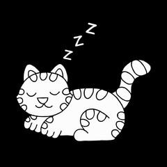 Cute cat sleeping. Doodle vector illustration.