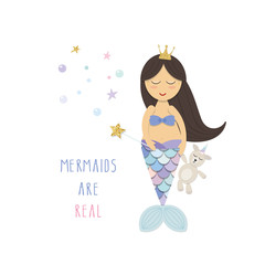 Little mermaid with unicorn toy. Cute cartoon characters. Vector