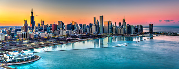 Sunset behind Chicago in the Winter Wall mural