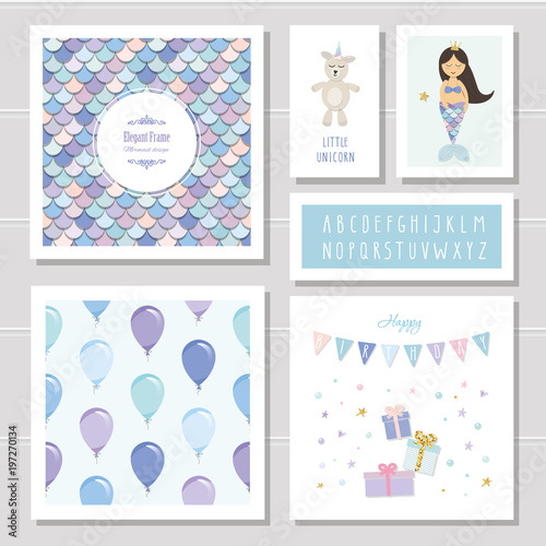 Birthday Card Templates Set Mermaid And Little Unicorn Cartoon Characters Narrow Font Seamless