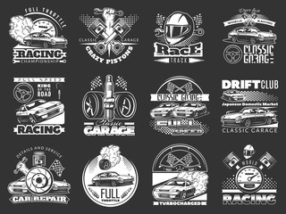 set of car racing white monochrome emblems, labels, logos and championship race badges with descriptions of classic garage, drift club, world racing. vector illustration