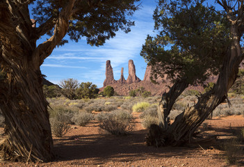 The Three Sisters in Monument Valley Navajo Tribal Park, Arizona