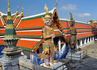 Giant Mosaic Figures Guard the Temples at the Grand Palace.