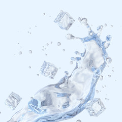 Water splash with ice cubes and water droplets isolated. 3D illustration