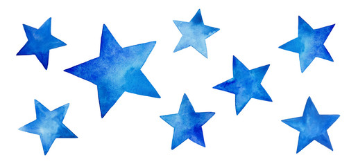 Collection of various blue watercolor stars. Beautiful and cute decorative elements for design, patterns, wallpaper, decoration. Colorful hand drawn painting on white backdrop, cutout clip art.