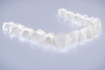 Invisible aligner, braces with white teeth- 3D Rendering