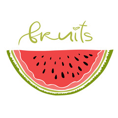 Watermelon print design. Summer fruit icon. Sweet slice vector .