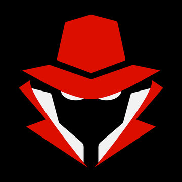 Flat, mysterious computer hacker icon. Red and white. Isolated on black