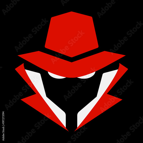 Flat, mysterious computer hacker icon  Red and white  Isolated on