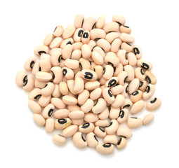 Black-eyed Beans on white background.