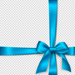 Realistic blue bow and ribbon. Element for decoration gifts, greetings, holidays. Vector illustration.