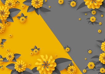Abstract paper cut flowers, paper craft yellow and grey background. Vector illustration.