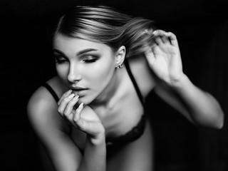 Portrait of sensual girl in underwear (black and white)