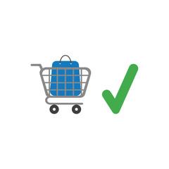 Vector icon concept of shopping bag inside shopping cart with check mark