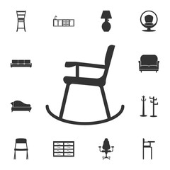 Rocking chair icon. Detailed set of furniture icons. Premium quality graphic design. One of the collection icons for websites, web design, mobile app