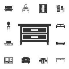 Nightstand furniture icon. Detailed set of furniture icons. Premium quality graphic design. One of the collection icons for websites, web design, mobile app