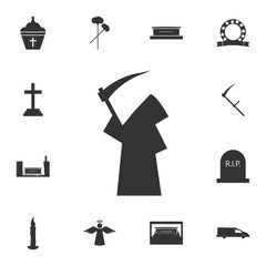 black silhouette of a man with a hood icon. Detailed set of death icons. Premium quality graphic design. One of the collection icons for websites, web design, mobile app