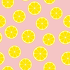 Pink Lemonade Seamless Vector Pattern Tile. Yellow Lemon Halves Round Slices Randomly Arranged on Pink Background. Lemonade Stand Picnic Party Decor. Food Packaging Design. Swatch Included.