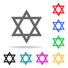 star of David icon. Elements of religion multi colored icons. Premium quality graphic design icon. Simple icon for websites, web design, mobile app, info graphics