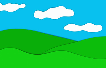 Drawing of a blue sky woth clouds over grassland, illustration.