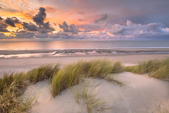 View from dune top over North Sea