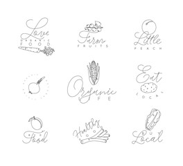 Vegetables and fruits pen line symbols