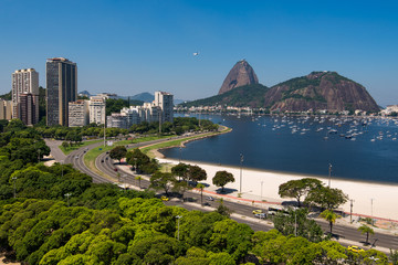 Fototapete - View of Botafogo Beach With the Sugarloaf Mountain in the Horizon, in Rio de Janeiro, Brazil