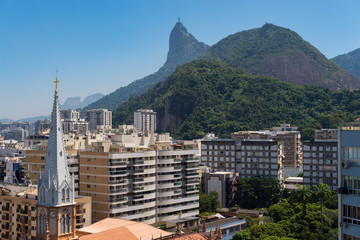 Church Tower, Corcovado Mountain, and Buildings of Botafogo Neighborhood in Rio de Janeiro, Brazil
