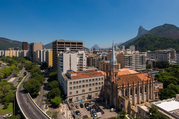 View of Buildings of Botafogo Neighborhood and Corcovado Mountain in Rio de Janeiro, Brazil