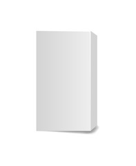 Rectangular cardboard tall box for cosmetics on white background.