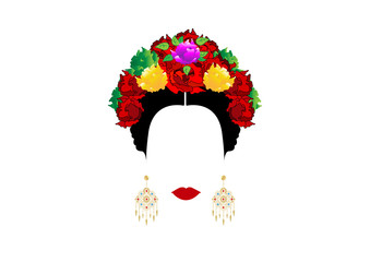 Portrait of modern Mexican or Spanish woman , With flower crowns and precious golden earrings. Vector isolated or white background