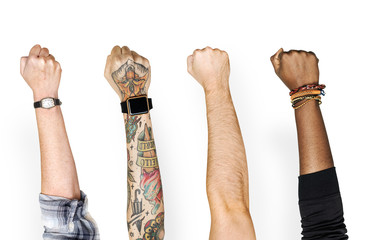 Different people showing their arms