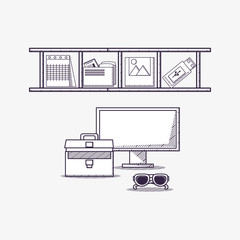 Office supplies design with shelves with objects and computer with briefcase and sunglasses over white background, sketch design. vector illustration