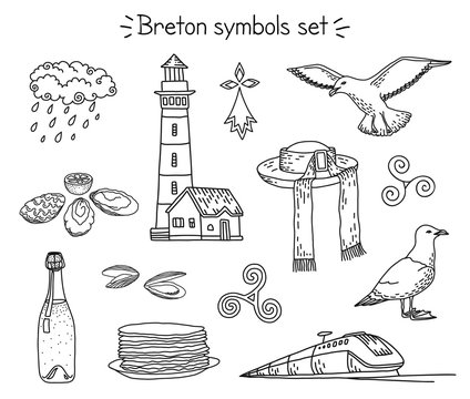Vector coloring book breton elements: lighthouse, seagulls, traditional hut, train, cidre and crepes, oysters, mussels, rainy cloud, triskele and hermine.