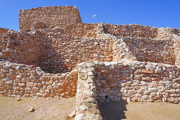 View of the Tuzigoot National Monument, a pueblo ruin on the National Register of Historic Places in Yavapai County, Arizona