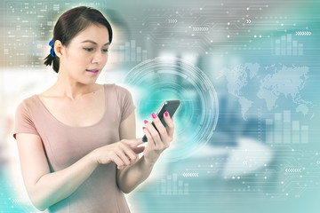 Business concept. Asia Businesswoman touching screen smartphone. Worldwide connection technology interface.