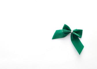 single green velvet bow