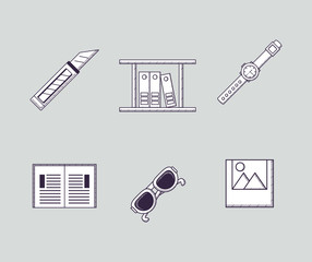 Icon set of office supplies related icons over gray background, sketch design vector illustration