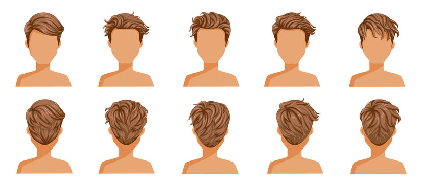 Hair blown man set. Wide view The hair is blown away. Front, rear, left, right. handsome hairstyle brown short hair of male.  trendy haircut. vector icon set isolated on white background.