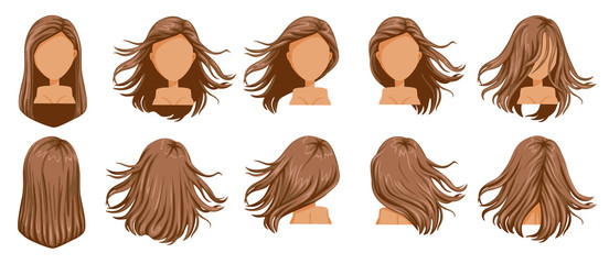 Hair blown women set. Wide view The hair is blown away. Front, rear, left, right. Beautiful hairstyle brown long hair of female.  trendy haircut. vector icon set isolated on white background.