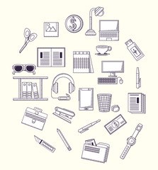Office supplies related icons over white background, sketch design vector illustration