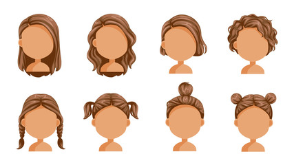 Little girl hair set. face of a little girl. beautiful  hairstyle. child  modern fashion for assortment. long , short , curly hair. salon hairstyles and trendy haircut. vector icon set isolated