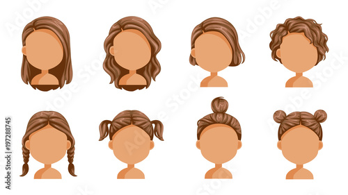 "Girl Hairstyles Clipart: ""Little Girl Hair Set. Face Of A Little Girl. Beautiful"