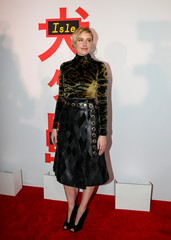 Cast member Greta Gerwig arrivea for a screening of 'Isle of Dogs' in New York