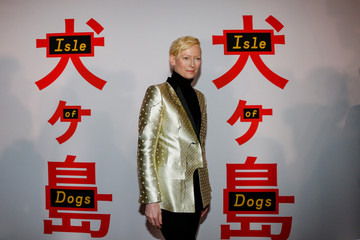 Cast member Tilda Swinton arrives for a screening of 'Isle of Dogs' in New York