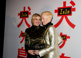 Cast members Greta Gerwig and Tilda Swinton arrive for a screening of 'Isle of Dogs' in New York