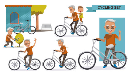 Cycling Elderly.Cycling Older set. grandfather and Grandson. male Relax in the  city bike, Leisure, activities, Landscaping, exercise, motion,  Vector  illustration. isolated