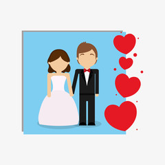avatar wedding couple and decorative hearts over blue square and white background, colorful design. vector illustration