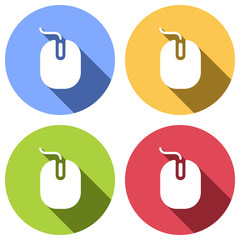 computer mouse icon. Set of white icons with long shadow on blue, orange, green and red colored circles. Sticker style