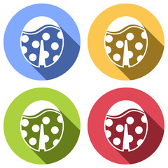 Ladybug icon. Set of white icons with long shadow on blue, orange, green and red colored circles. Sticker style